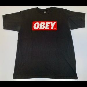 Men's Large Obey Box Logo Tee Genuine